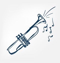 trumpet sketch isolated design vector image