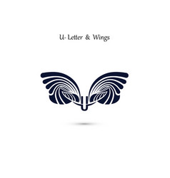 U letter sign and angel wings monogram wing logo vector