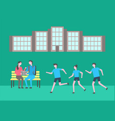 University campus territory students outdoors vector