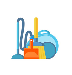 vacuum cleanerscoop and broom isolated on white vector image