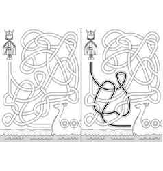 viking maze vector image