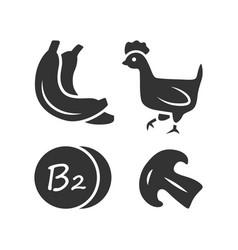 Vitamin b2 glyph icon bananas poultry vector