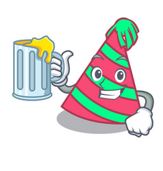 With juice party hat mascot cartoon vector