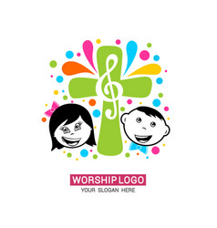Worship logo children glorify god vector