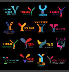 y letter abstract shape corporate identity icons vector image