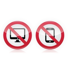 No computer no mobile or cell phone sign vector image vector image