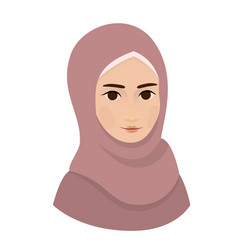 Portrait of muslim beautiful girl woman in hijab vector