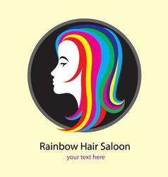 Rainbow saloon logo design vector image vector image