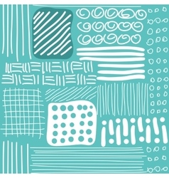 Seamless pattern with hand drawn lines dots and vector image vector image