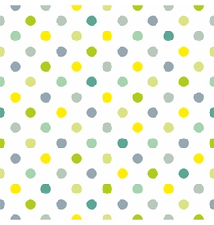 Spring green blue yellow polka dots background vector image