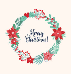 christmas greeting inside holiday wreath or vector image