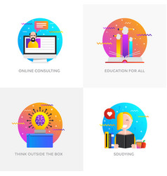 flat designed concepts - online consulting vector image