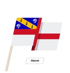 Herm Ribbon Waving Flag Isolated on White vector image vector image