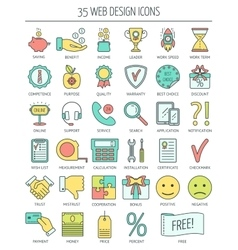 Linear web icons Color moder line icons for vector image vector image