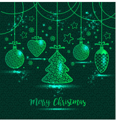 new years greeting card merry christmas bright vector image vector image