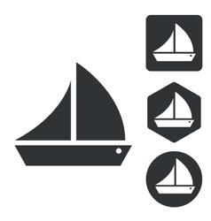 Sailing ship icon set monochrome vector