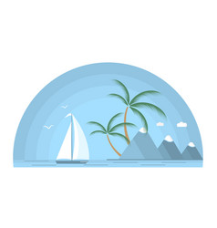a ship with a white sail against the background of vector image