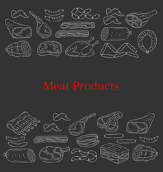 card template with different kinds of meat vector image