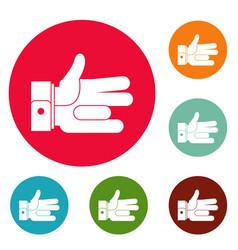 Hand abstract icons circle set vector