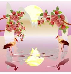 Sakura landscape east vector image