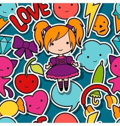 Seamless kawaii child pattern with cute doodles vector image vector image
