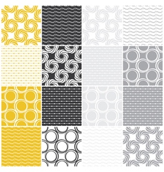 seamless patterns with dots circles and waves vector image vector image