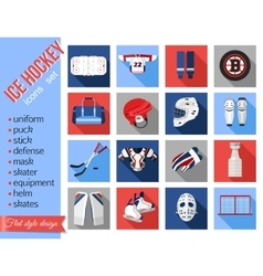 Set of flat ice hockey icons vector image