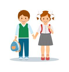 shcoolchildren- boy and girl vector image