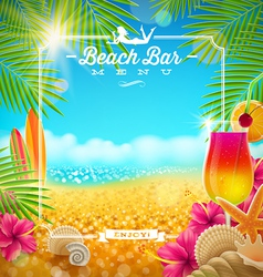 Tropical summer vacation beach bar menu design vector