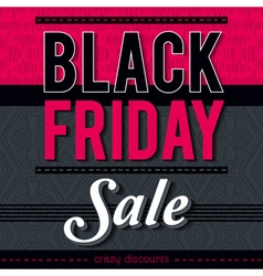 Black friday sale banner on patterned background vector image vector image