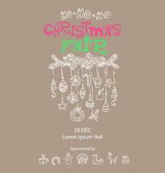 Christmas fair announcement poster vector