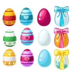 Colorful Easter eggs with ribbon and without vector image