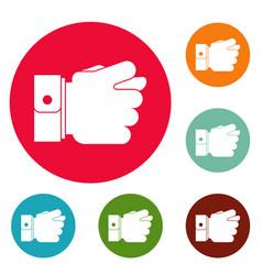 Hand greed icons circle set vector