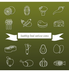 healthy food outline icons vector image vector image