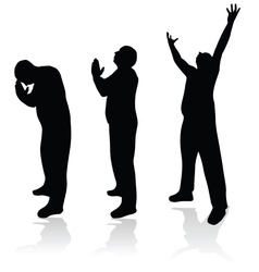 man prayer silhouette vector image