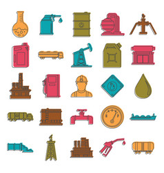 oil and gas industry doodle icons set vector image