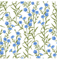 seamless pattern with hand drawn flax vector image vector image
