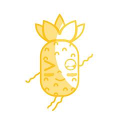 silhouette kawaii cute funny pineapple fruit vector image vector image