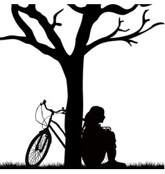woman and bicycle leaned against a tree vector image