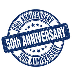 50th anniversary blue grunge stamp vector image