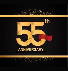 55 years anniversary logotype with premium gold vector
