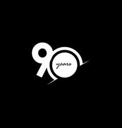 90 years anniversary celebration number white vector