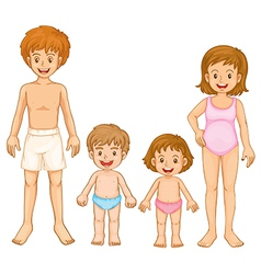 A family in their swimming attire vector image