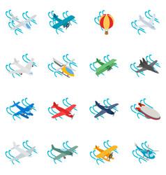 Aeronaut icons set isometric style vector