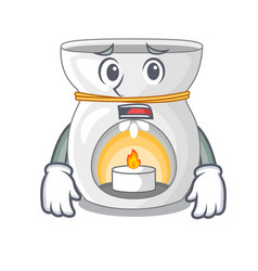 Afraid aroma lamp with burning candle mascot vector