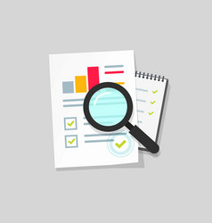 Audit research icon flat cartoon paper vector