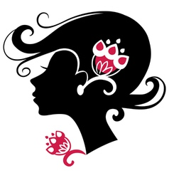 beautiful woman silhouette with a flowers vector image