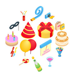 birthday party isometric icons vector image