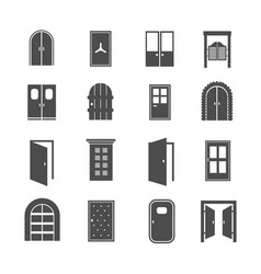 Black door icons open and close house and vector