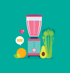 blender celery orange avocado and celery healthy vector image